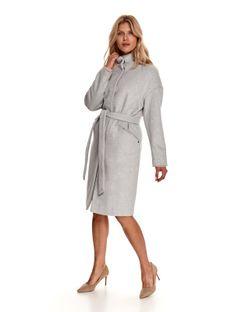 Elegancki płaszcz ze stójką z dodatkiem wełny