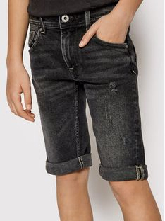 Pepe Jeans Szorty jeansowe Becket PB800135 Czarny Slim Fit