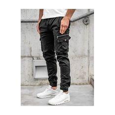 Spodnie męskie Denley czarne bawełniane jesienne