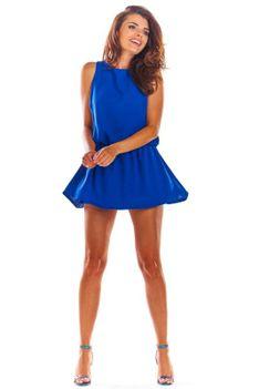 Niebieski Letni Kombinezon z Mini Spódnicą