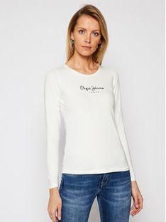 Pepe Jeans Bluzka New Virginia PL502755 Biały Slim Fit