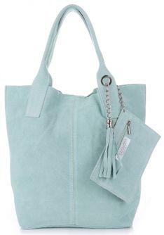 Torebki Skórzane Shopper bag zamsz naturalny Miętowa (kolory)