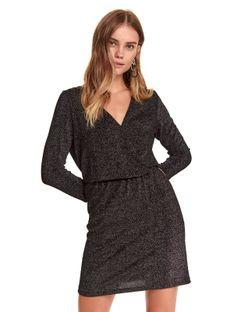 Kopertowa sukienka z połyskiem