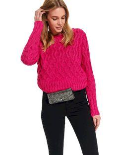 Gruby damski sweter z dekoltem w łódkę