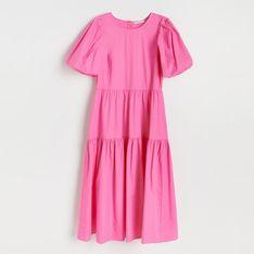 Reserved - Sukienka z bufiastymi rękawami - Różowy
