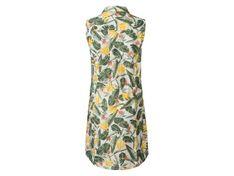 ESMARA® Sukienka damska z lnem, 1 sztuka (34, Nadruk na całej powierzchni/biały/żółty)