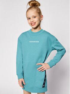Calvin Klein Jeans Sukienka codzienna Monogram Tape IG0IG00710 Niebieski Regular Fit