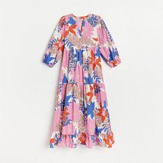 Reserved - Bawełniana sukienka w kwiaty - Kremowy