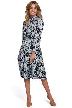 Rozkloszowana Sukienka w Kwiaty ze Stójką - Model 4