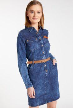 Jeansowa sukienka z paskiem
