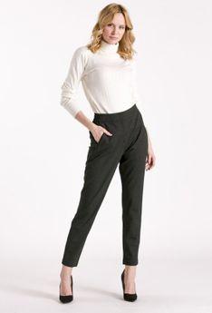 Wizytowe spodnie damskie z drobnym wzorem