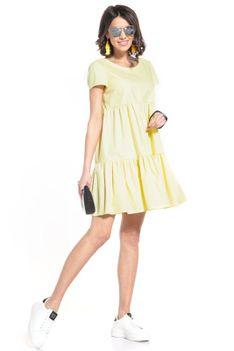 Bawełniana Mini Sukienka z Owalnym Dekoltem - Żółta
