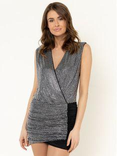 Pinko Sukienka koktajlowa Gustone PE20 BLK01 1B14H0 Y67T Srebrny Slim Fit