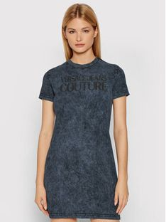 Versace Jeans Couture Sukienka codzienna Logo Crinkle 71HAOP13 Szary Regular Fit