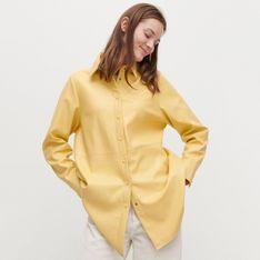Reserved - Koszula z imitacji skóry - Żółty