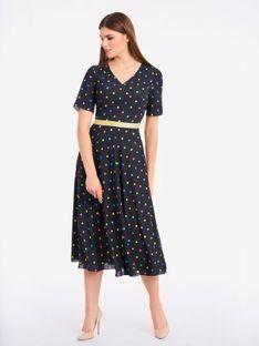 Rozkloszowana sukienka w kolorowe groszki Potis & Verso GAMA