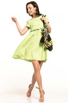 Jasnozielona Letnia Wygodna Sukienka z Marszczonym Dołem