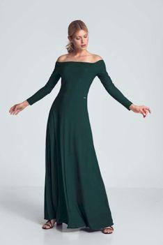 Maxi Sukienka Odsłaniająca Ramiona - Zielona
