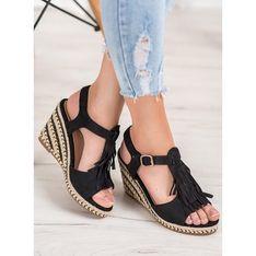Sandały damskie CzasNaButy bez obcasa letnie bez wzorów z klamrą zamszowe na platformie