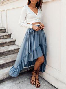 Spódnica damska 008GLR - niebieska