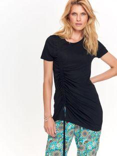T-shirt krótki rękaw damski, z wiązaniem, luźny, z wiskozy