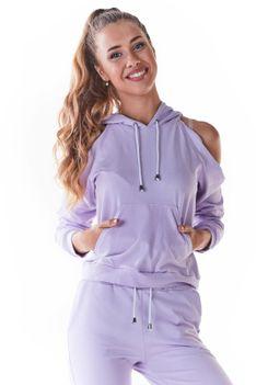 Krótka Bluza z Rozcięciami na Ramionach - Purpurowa