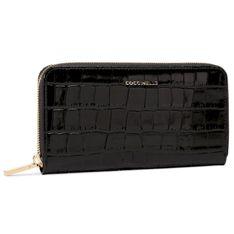 Duży Portfel Damski COCCINELLE - GW6 Metallic Croco Shiny Soft E2 GW6 11 04 01  Noir 001