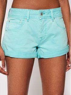 Pepe Jeans Szorty jeansowe Siouxie PL800685 Zielony Regular Fit
