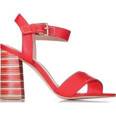 Sandały damskie Wittchen na obcasie czerwone ze skóry letnie