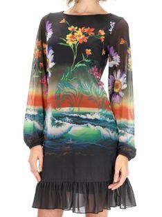 Zwiewna sukienka z motywem morza i kwiatów Desigual BARTON