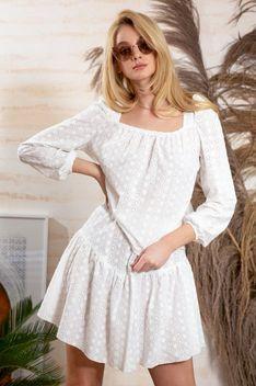 Komplet w Stylu Boho Bluzka + Spódnica - Biały