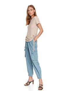 Gładki t-shirt damski z drapowaniem po bokach