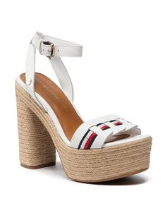 Tommy Hilfiger Espadryle Th Interlace High Heel Sandal FW0FW05612 Biały