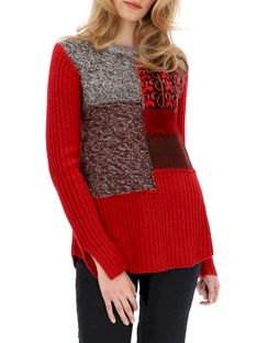 Czerwony sweter w prążki Desigual MILANO