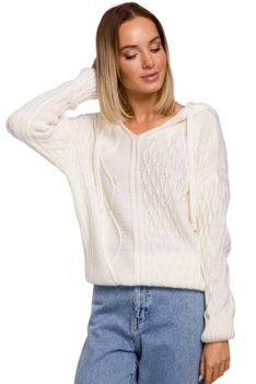Nierozpinany Sweter z Kapturem - Ecru