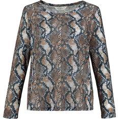 Wielokolorowa bluzka damska Ulla Popken z okrągłym dekoltem w abstrakcyjnym wzorze z długimi rękawami