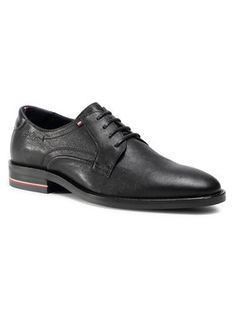 Tommy Hilfiger Półbuty Signature Hilfiger Leather Shoe FM0FM03115 Czarny
