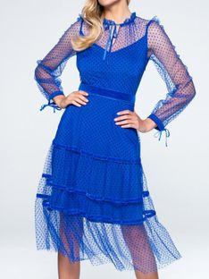 Tiulowa sukienka w welurowe groszki L`AF PETRA