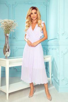 Kopertowa Sukienka Midi z Plisowanym Dołem - Wrzosowa