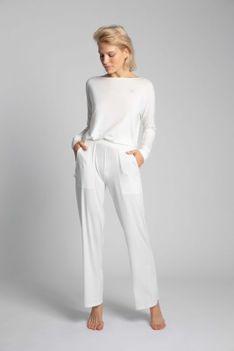 Wiskozowe Spodnie od Piżamy z Szerokimi Nogawkami - Ecru