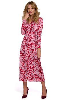 Kopertowa Sukienka w Kwiaty Wiązana na Boku - Model 1
