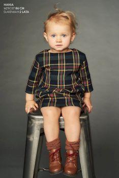 Sukienka dla dzieci MAŁA SZARA FOR KIDS krata zielona Risk Made in Warsaw