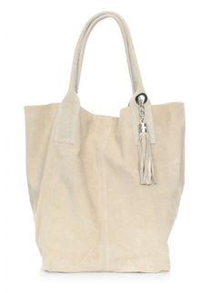 Torebka skórzana typu Shopperbag zamsz naturalny Beżowa (kolory)
