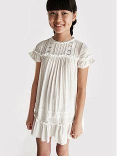 Mayoral Sukienka codzienna 6938 Biały Regular Fit