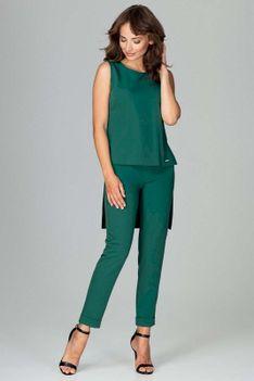 Zielony Komplet Bluzka +Spodnie z Wywijaną Nogawką