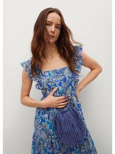 Mango Sukienka letnia Paradise 87008636 Niebieski Regular Fit