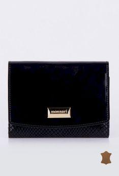 Elegancki portfel z lakierowaną klapą
