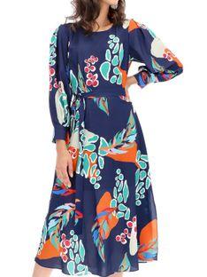 Zwiewna sukienka z motywem roślinnym Ella Boo E-20AW-2066