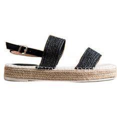 SHELOVET Plecione Sandały Na Platformie czarne