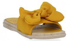 Modne klapki damskie z kokardą firmy Givana Żółte (kolory)